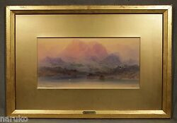 THOMAS MORAN 100% GUARANTEED AUTHENTIC MOUNTAIN LAKE WATERCOLOR THIS IS
