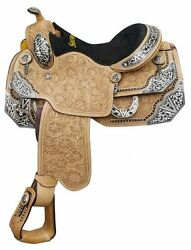 Showman Show Saddle with Floral Tooling Silver Accents Full QH Bars 16