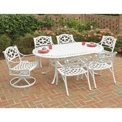 Biscayne 7-Piece Outdoor Dining Set with Oval Shape Table and Chair White 72