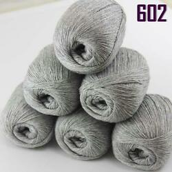 Sale New 300g1380y Super Fine Pure 100% Cashmere Hand Knitting Yarn 602 Silver
