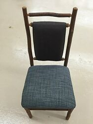 100 Old Hickory Furniture Co Original Rustic Chair Blue Fabric Leather WDW