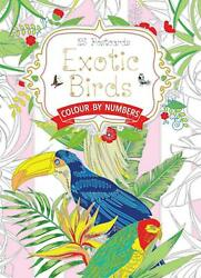 Exotic Birds Postcard Book: Colour by Numbers (English) Novelty Book Free Shippi
