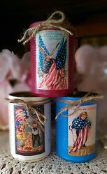 3 Americana Primitive Shabby Chic Tin Cans Rustic Victorian Style Home Decor New
