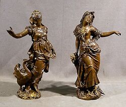 BEAUTIFUL PAIR OF 19thC WOMAN BRONZES STANDING APPROX 17.5
