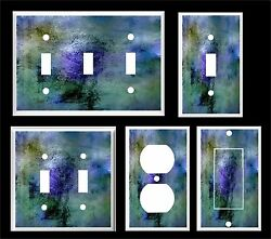 ABSTRACT BLUE GREEN ART LIGHT SWITCH COVER PLATE     MADE IN USA $6.19