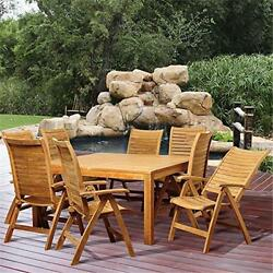 SC RINJASQ-8PALUPOS Donovan 9 Piece Teak Square Patio Dining Set