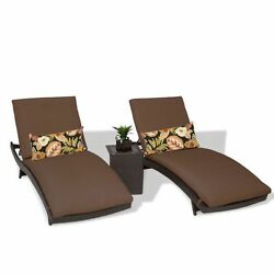 Miseno BALI-2x-ST-COCOA Java 3-Piece Outdoor Chaise Lounge Chair Set