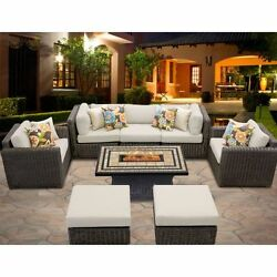 Miseno VENICE-08d-BEIGE 8-Piece Outdoor Furniture Set with Propane Fire Pit