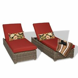 Miseno CAPECOD-2x-TERRACOTTA Nantucket 2-Piece Outdoor Chaise Lounge Chair Set