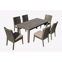 7-Piece Antique Grey Hard WoodGrey All-Weather Wicker Patio Dining Set