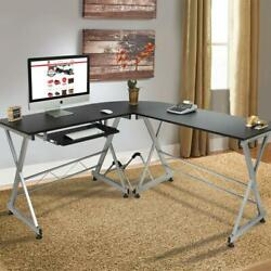 L Shaped Corner Computer Desk Home Office Laptop Desk Wood Black $112.90