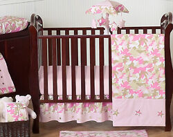 Pink And Brown Camouflage Jojo Designs Baby Girl Crib Bedding Set For Newborn
