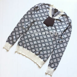 NEW Louis Vuitton Mens Grey Diamond Pattern Wool Knit Jumper Sweater Size Large