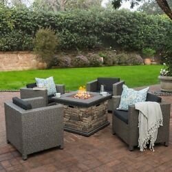 Livingston Outdoor 4 Pc Club Chair Set wWater Resistant Cushions