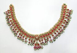 Vintage antique Solid 18k Gold jewelry Ruby Emerald Gemstones Necklace Pendant