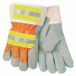 MCR Luminator Leather Palm Gloves, Large, Leather & Nylon, Orange...