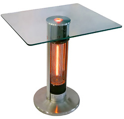 EnerG+ 5100 110 Aluminum Square Bistro Glass Top Table Electric Patio Heater NEW