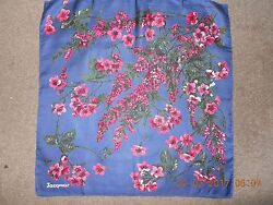 Beautiful vintage 1950s 1960s pure silk scarf by Jacqmar cherry blossom on blue