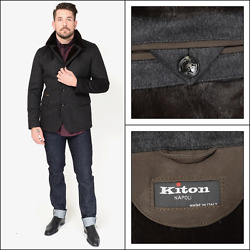 KITON Gray 100% Cashmere Weasel Fur Leather 3Btn Coat Field Jacket 50 M 40 NWT