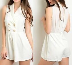 Cream Off White Slit Back Petal Panel Double Button Front Pleated RomperJumper