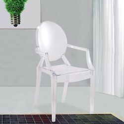 Accent Chair Clear Plastic Patio Deck Outdoor Lawn Seat Weatherproof Stackable