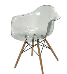 Accent Chair Gray Transparent Acrylic Plastic Seat Modern Design Clear Grey NEW