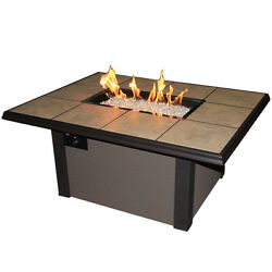 Brown 50 inch Rectangle Napa Valley Gas Fire Pit Table - Chat Height