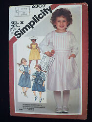Simplicity Sewing Pattern 6307 Childs Jumper & Back Button Blouse Size 3-4-5 UC