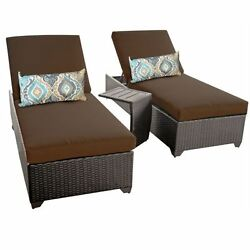 Miseno CLASSIC-2x-ST-COCOA Traditions 3-Piece Outdoor Chaise Lounge Chair Set