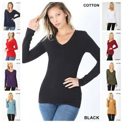 NEW BASIC V NECK LONG SLEEVE FITTED TOP SOLID STRETCH T SHIRT REG n PLUS S 3XL $10.95