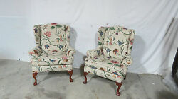 Pair Chippendale Designer Wing Chairs Claw Feet