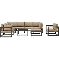 9 Piece Fortuna Outdoor Patio Sectional Sofa Set in Brown with Mocha Cushions