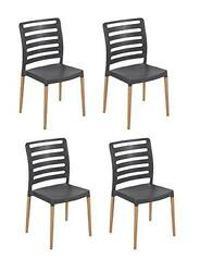 Tensai Diva Chair - Durable Plastic with Wood Legs - Anthracite - Set of 4