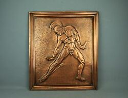 Art Deco Modern Copper Repousse Plaque Nude Athlete Gladiator Achilles Gilles