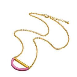 Alberto Moore AMNL3020-CRE Gold Plated Cashmere Rose Thread Half Moon Necklace
