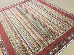 Persian Oriental Area Rug Shawl Hand Knotted Wool Multicolor 8'.1