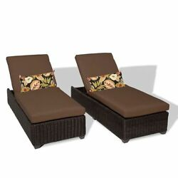 Miseno VENICE-2x-COCOA Mediterranean 2-Piece Outdoor Chaise Lounge Chair Set