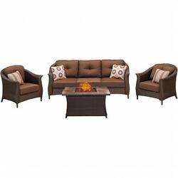 Hanover 4 Piece Gramercy Seating Fire Pit Set with Wood Grain Tile Top Brown
