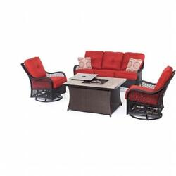 Hanover Orleans 4 Piece Fire Pit Seating Set Berry Wood Tile Top
