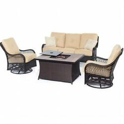 Hanover Orleans 4 Piece Fire Pit Seating Set Tan Wood Tile Top
