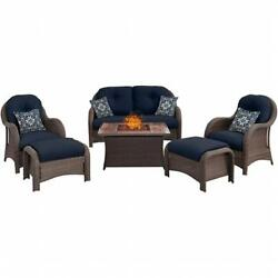 Hanover 6 Piece Newport Fire Pit Set with Wood Grain Tile Top Navy