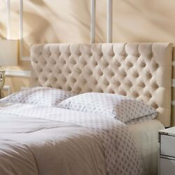 Brunet Contemporary Button Tufted Fabric Queen Full Headboard $192.81