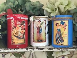 3 Americana Primitive Tin Can Vases Shabby Chic Rustic Farmhouse Patriotic Decor