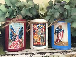 Americana Primitive Tin Can Vase Shabby Chic Rustic Farmhouse Patriotic Decor