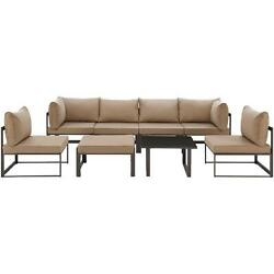 8 Piece Fortuna Outdoor Patio Sectional Sofa Set in Brown with Mocha Cushions