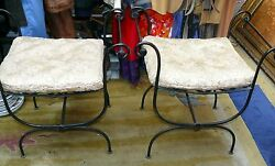 Antique Pair Neo-classical Black Wrought Iron Bench Benches Chairs Vanity Patio