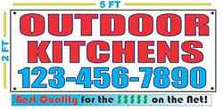 OUTDOOR KITCHENS w CUSTOM PHONE Banner Sign Larger Size Best Quality for The $