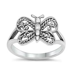 Sterling Silver Baby Ring Extravagant Butterfly Wings Solid 925 9mm Sizes 1-9