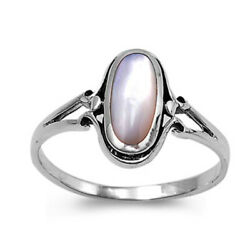 Sterling Silver Woman's Mother of Pearl Ring Promise 925 Band 13mm Sizes 4-10
