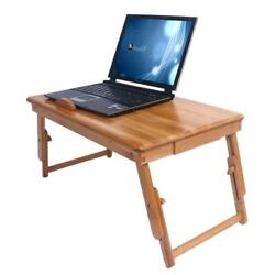 Portable Bamboo Laptop Desk Table Folding Breakfast Bed Serving Tray + Drawer $26.99
